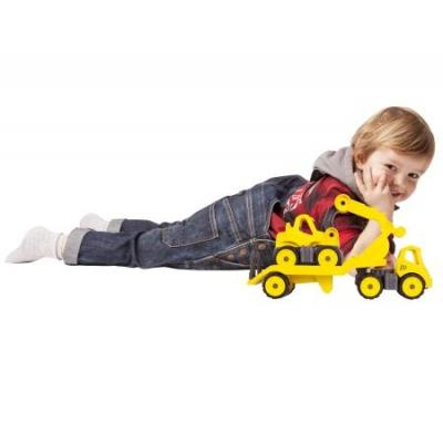 Big toy vehicle: Power-Worker Mini Transporter + Digger - Zwart, Geel