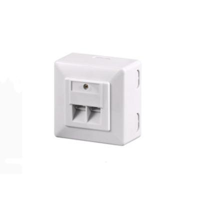 Microconnect wandcontactdoos: Cat6, 2 x RJ-45 - Wit