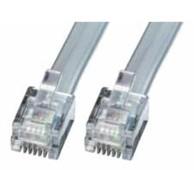 Lindy telefoon kabel: RJ-12 M/M 5.0m - Grijs