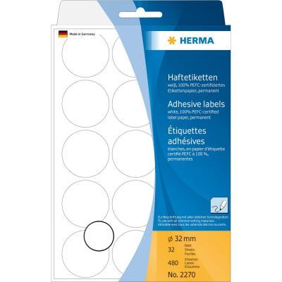 Herma etiket: Universele etiketten/Kleur punten ø 32mm wit voor handmatige opschriften 480 St.