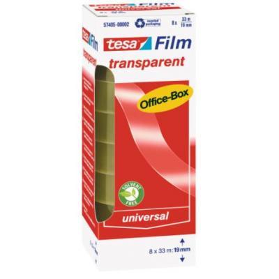 Tesa plakband: 33 m / 19 mm, 8 rollen, office box - Transparant