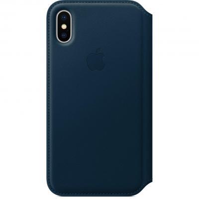 Apple mobile phone case: Leren Folio-hoesje voor iPhone X - Kosmosblauw