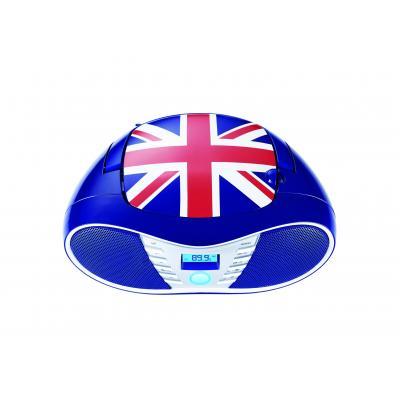 Bigben interactive CD-radio: Sterke radio / CD speler met USB - Britse vlag - Blauw