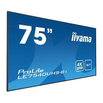 """Iiyama 190.5 cm (75"""") , 3840 x 2160, 4K UHD, 16:9, 410 cd/m², 8 ms, IPS LED, matte finish, VGA, HDMI, ....."""