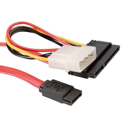 ROLINE SATA 3.0 Gbit/s Data- en stroomkabel (4pol. HDD) 1 m - Zwart, Rood