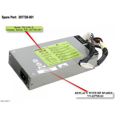 Hewlett Packard Enterprise POWER SUPPLY,180W Refurbish Power supply unit - Zilver
