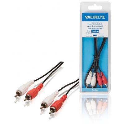 Valueline Stereo RCA audiokabel 2x RCA mannelijk - 2x RCA mannelijk 10.0 m zwart - Zwart, Rood, Wit