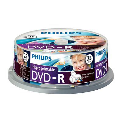 Philips De uitvinder van de technologieën achter CD en. 4,7GB/120min. 16x, met inkjet te bedrukken DVD