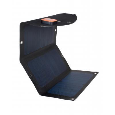 Xtorm oplader: SolarBooster 21 Watt panel, 2x USB, 5V/2.1A - Zwart, Blauw