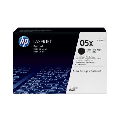 HP toner: 05X 2-pack zwart voor LaserJet P2055 & P2055d