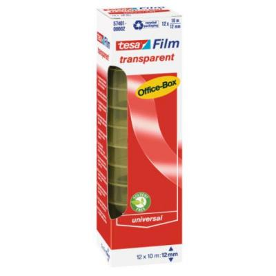 Tesa plakband: 10 m / 12 mm, 12 rollen, office box - Transparant