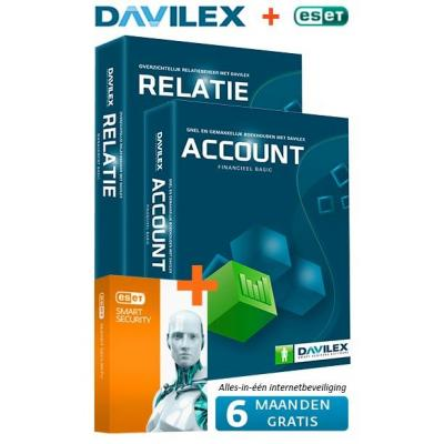 Davilex boekhoudpakket: Account Basic + Gratis Relatie Basic + half jaar Gratis ESET Smart Security