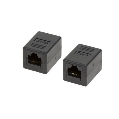 LogiLink 1:1, Cat.6, RJ45, UTP, black Kabel adapter - Zwart