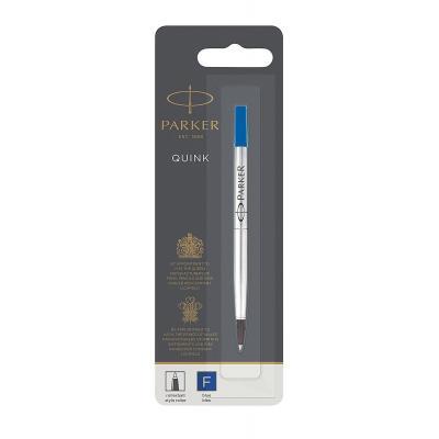Parker pen-hervulling: Rollerball Pen Refill Fine Nib, Blue - Blauw, Zilver