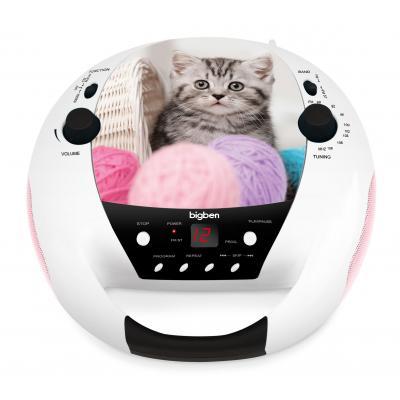 Bigben interactive CD speler: Portable radio / CD speler met schattig poezendesign - Multi kleuren