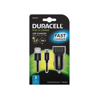 Duracell Single 2.4A +1M Micro USB Cable Oplader - Zwart