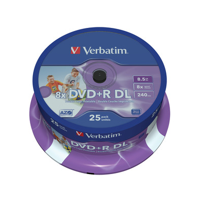 Verbatim DVD+R Double Layer Inkjet Printable 8x, 25pcs DVD