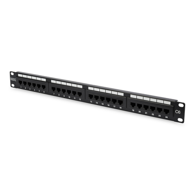 Digitus patch panel: CAT 6 Class E - Zwart