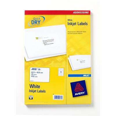 Avery adreslabel: Adresetiketten, inkjet, wit