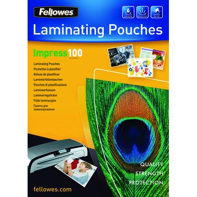 Fellowes 100 micron lamineerhoes glanzend A4 - 100 pak Laminatorhoes - Transparant