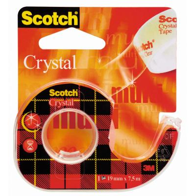 Scotch Crystal Clear Tape - Navulbare Dispenser - 19 mm x 7.5 m tape afroller - Zwart, Rood