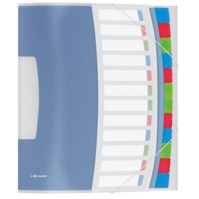Esselte schutkaart: VIVIDA Sorteermap, transparant, 12 scheidingsbladen - Blauw, Multi kleuren
