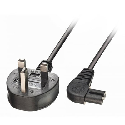 Lindy 1m UK 3 Pin Plug to Right Angled IEC C17 Mains Power Cable, Black Electriciteitssnoer - Zwart