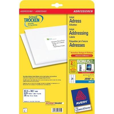 Avery adreslabel: Adresetiketten, Inkjet, Wit, 525 pcs.