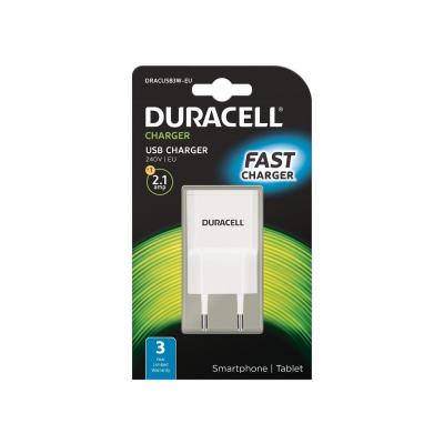 Duracell 2.1A USB Phone/Tablet Charger Oplader - Wit