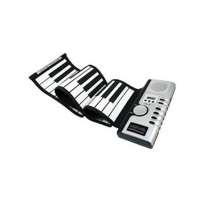 Logilink MIDI keyboard: Roll Up Piano - Zwart, Zilver, Wit