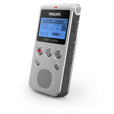 Philips voice recorder: Voice Tracer 3.5 mm, 4 GB, USB 2.0, 2× AAA, 106 × 56 × 18 mm, 49 g, Black/Silver - Zwart, .....