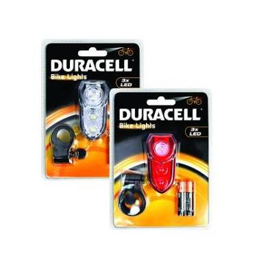 Duracell fietslamp: 3 LED Front & Rear Bicycle Light Set - Rood, Wit