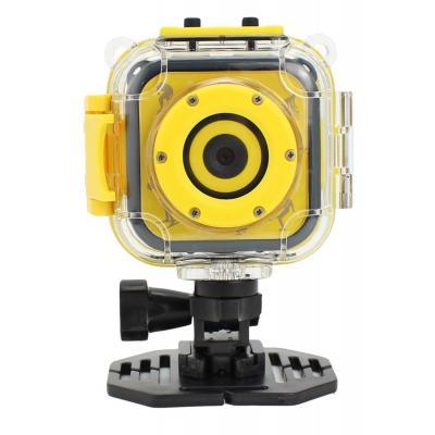 Salora actiesport camera: Een stoere kids HD action camera met waterproof case en LCD display - Zwart, Geel