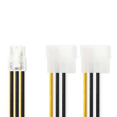 Nedis Interne Voedingskabel, 2x Molex Male - PCI Express Female, 0,15 m, Diverse - Zwart, Geel