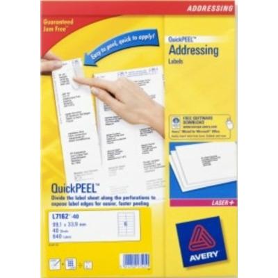 Avery L7162-40 Adreslabel - Wit