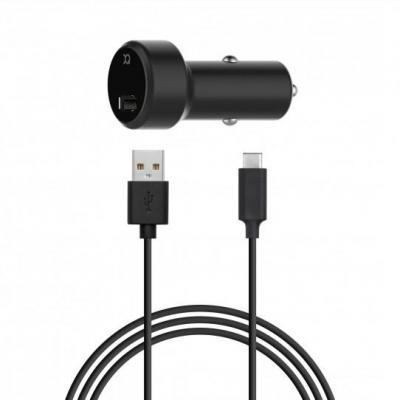 Xqisit Car Charger 2.4A Single USB - USB C (black) oplader - Zwart