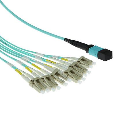ACT 5 meter Multimode 50/125 OM3 fanout patchkabel 1 X MTP female - 6 X LC duplex 12 vezels Fiber optic kabel