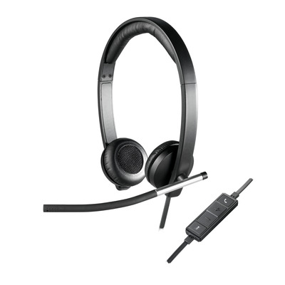 Logitech H650E Headset - Zwart, Zilver