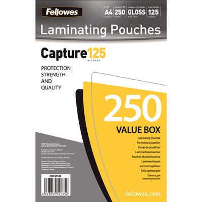 Fellowes laminatorhoes: 125 micron lamineerhoes glanzend A4 250 pak - Transparant