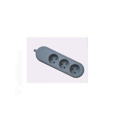 Microconnect 3-way Danish socket, Grey, 5 m Stekkerdoos - Grijs