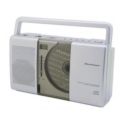 Soundmaster CD-radio: CD Radio @ headphone jack, CD, CD-R/RW, AM/FM, LCD clock, AC 230V, 6xUM-2/C 1.5V - Zilver