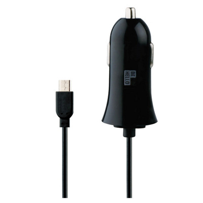 BeHello Car Charger with Cable Micro USB (1,2m) 2.1A Straight Zwart Oplader