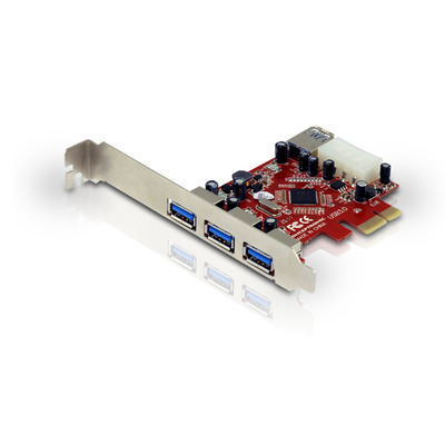 Conceptronic 4 x USB 3.0, PCI, 4.8 Gbps Interfaceadapter - Rood, Zilver