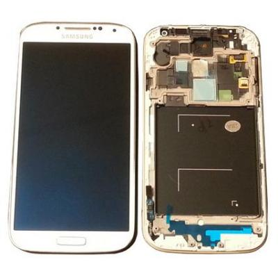Samsung mobile phone spare part: GT-I9505 Galaxy S4, complete front + LCD + touchscreen, white