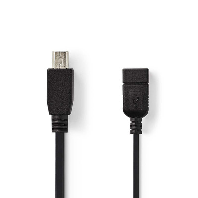 Nedis On-the-Go USB 2.0-Kabel, Mini 5-Pins Male - A Female, 0,2 m, Zwart USB kabel