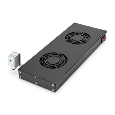 """Digitus Ventilation unit for 483 mm (19"""") installation 2 fans, thermostat, switch, black (RAL 9005) Rack ....."""