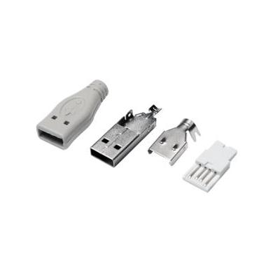 LogiLink USB-A PLUG SOLDER TYPE, SET WITH 4 PARTS INCL. BOOT GREY Kabel connector