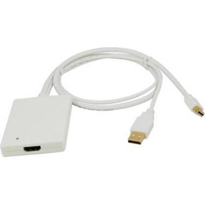 LogiLink Adapter Mini DisplayPort + USB Audio to HDMI - Wit