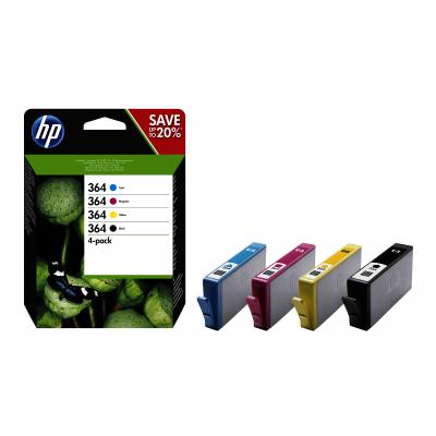 Hp inktcartridge: 364 Black/Cyan/Magenta/Yellow Original Ink Cartridges - Zwart, Cyaan, Magenta, Geel