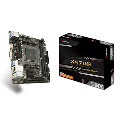 Biostar X470NH, AMD X470, AM4, 2x DDR4, 4x SATA III, M.2, LAN, PS/2, HDMI, USB, Mini ITX, 170x170 mm Moederbord